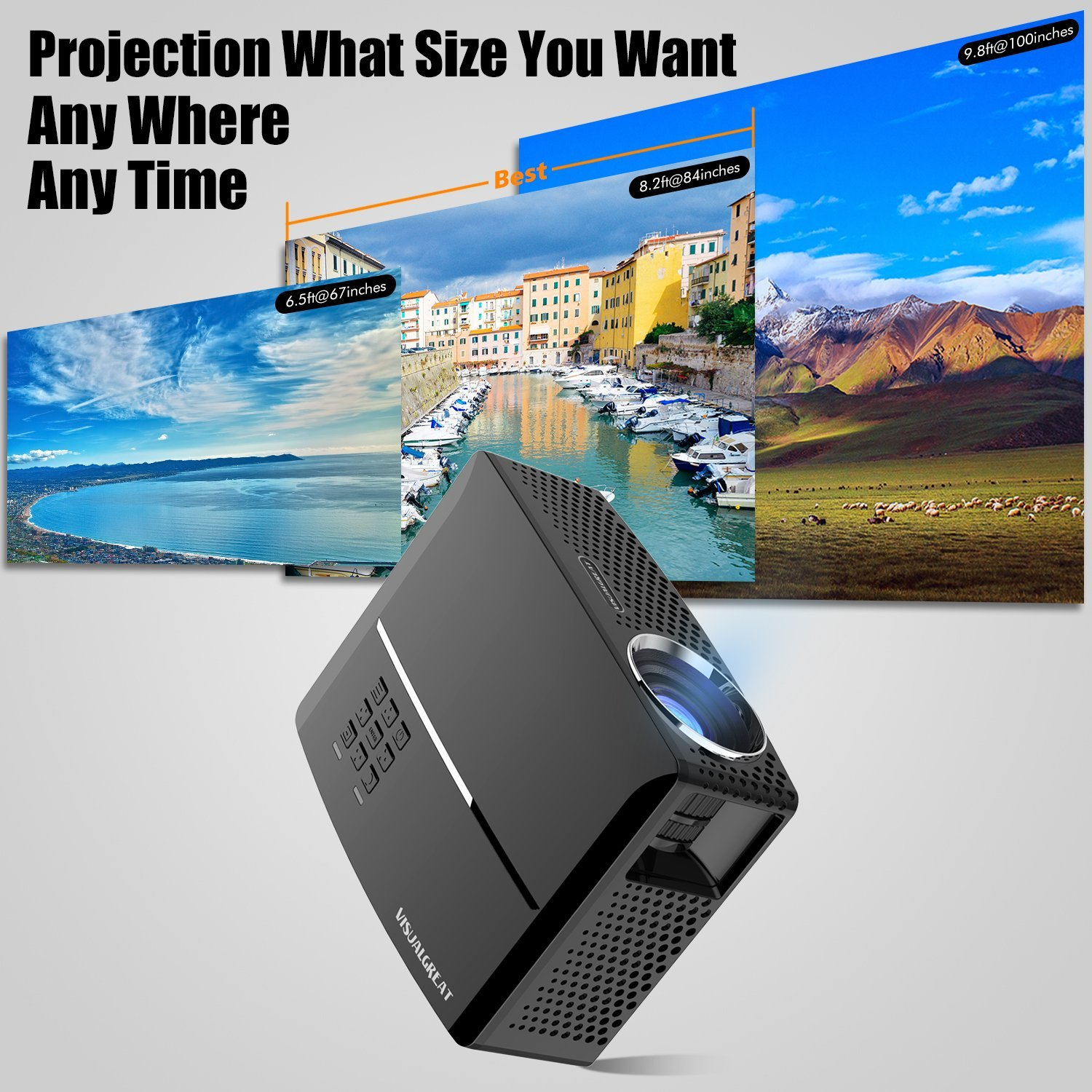 GP80 Mini Projector 1800 Lumens LED Full Color 1080P Video Media HDMI VGA Home Theater Projector